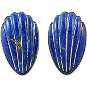14K Carved Lapis Omega Back Earrings