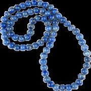 """Blue Denim Lapis Bead Necklace 32"""""""