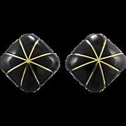 14K Carved Black Onyx Earrings