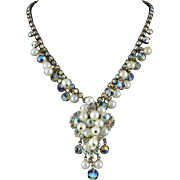Juliana Aurora Borealis Rhinestone and Dripping Faux Pearl Necklace