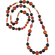 Multi-Shaped Carnelian and Black Onyx Bead Necklace 32""