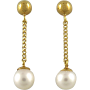 Beautiful Cultured Pearl 14K Dangle Earrings