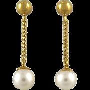 SALE 14K Cultured Pearl Chain Dangle Earrings