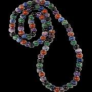 "Multi Color Gemstone Bead Necklace 31"""