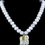 """Blue Lace Agate Elephant Necklace 24"""""""