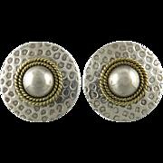 Large Sterling Silver Hammered Disk Earrings Vintage Taxco