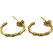14K Bamboo Style Hoops