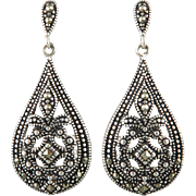 Large Sterling and Marcasite Teardrop Dangle Earrings