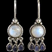 Moonstone and Iolite Sterling Silver Earrings