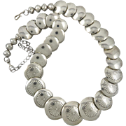 """SALE Southwestern Bench Bead Sterling Silver Necklace 19.5"""" Larger Coin Beads"""