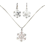 Sterling Snowflake Necklace and Earring Set