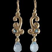 14K Blue Topaz Dangle Earrings