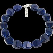 "Large Cobalt Glass Bead Necklace 19"""