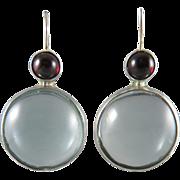 Sterling Garnet and Aquamarine Color Glass Earrings