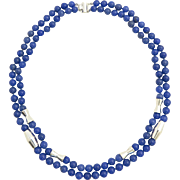 Natural Blue Chalcedony Double Strand Necklace With Sterling Silver Accents 22""