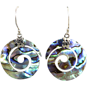 Carved Abalone Swirled Earrings in Sterling Silver