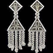 Exotic Sterling Silver Dangle Earrings