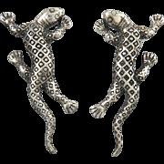 Lovely Gecko Lizard Sterling Earrings