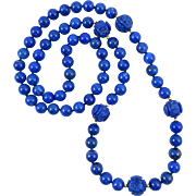 Gem Quality Chinese Carved and Round Lapis Vintage Necklace 31.5""