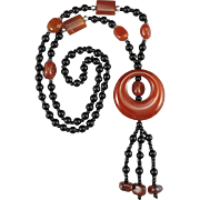 Carnelian Agate and Black Onyx Necklace 31""
