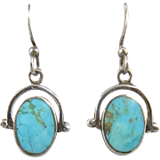 Turquoise and Sterling Spinner Earrings