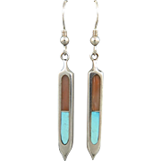 Long Turquoise and Coral Inlay Dangle Earrings in Sterling