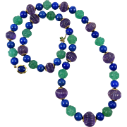 """14K Carved Amethyst Green Chalcedony and Lapis Necklace 27"""""""