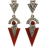 Spectacular Carnelian and Marcasite Sterling Silver Earrings