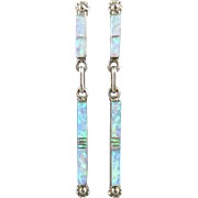 Long Opal and Sterling Dangle Earrings