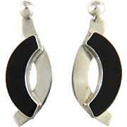 Sterling Silver and Black Onyx Modernist Style Earrings