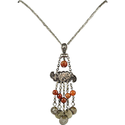 "Tribal Style Silver and Carnelian Dangle Necklace 36""*"