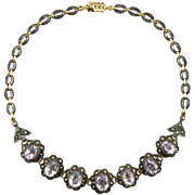 Art Deco 18K 42tcw Morganite and Marcasite in Vermeil Necklace 19""