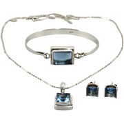 Blue Topaz Earrings Pendant and Bracelet Sterling Silver Set