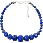 """Unusual Lapis Bead and Sterling Silver Necklace 21"""""""