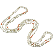 """2 Strands Coral and Freshwater Cultured Pearl Necklaces 36"""" Each"""