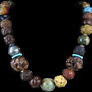 "Japanese Edo and Meiji Period Ojime Bead Necklace 26"""