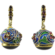 Chinese Bejeweled Enameled Egg Gilt Silver Dangle Earrings
