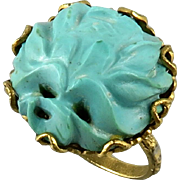 Chinese Carved Turquoise Ring