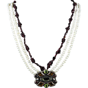 Important Federico Jimenez Pendant Necklace Vintage Garnet Peridot Cultured Pearl and Sterling