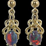 14K Black Opal and Diamond Dangle Earrings