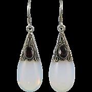 Opalite and Garnet Dangle Sterling Silver Dangle Earrings