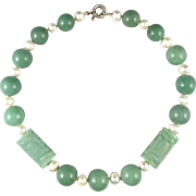 Carved Green Aventurine Large Bead and Cultured Pearl Necklace 21""