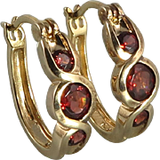 Red Garnet and Sterling SIlver Vermeil Earrings