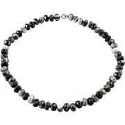 """Faceted Banded Agate Bead Necklace 18"""""""