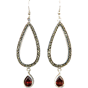 Sparkling Marcasite and Garnet Silver Earrings