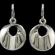 Vintage Taxco Silver Wavy Hoop Dangle Earrings
