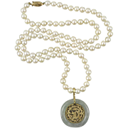 """14K Jade Dragon Pendant and Cultured Pearl Necklace 31"""""""