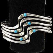 Sterling and Turquoise 5 Inter-Locking Bracelet Set