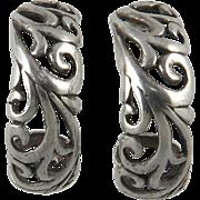 Sterling Silver Openwork J Hoop Earrings