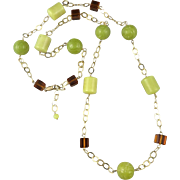 Carved Serpentine and Lemon Chrysoprase Bead 14K GF Station Style Necklace 39""